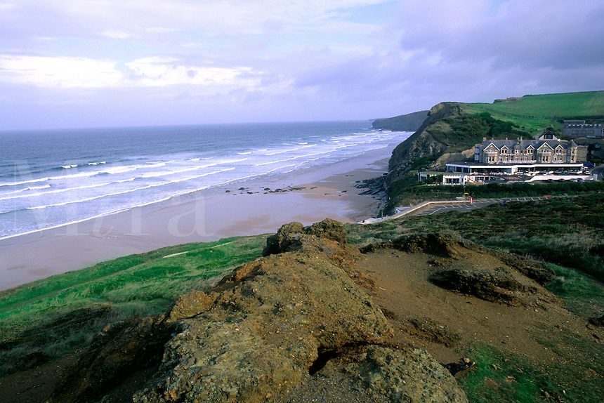 New Quay beach in Watergate Bay Cornwall England