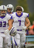 8 October 2016: Amherst College Purple & White Wide Receiver Devin Boehm, a Senior from Wilmette, IL, walks the sidelines during a game against the Middlebury College Panthers at Alumni Stadium in Middlebury, Vermont. The Panthers edged out the Purple & While 27-26. Mandatory Credit: Ed Wolfstein Photo *** RAW (NEF) Image File Available ***