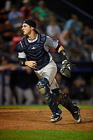 Trenton Thunder catcher Kellin Deglan (11) during an Eastern League game against the Reading Fightin Phils on August 16, 2019 at FirstEnergy Stadium in Reading, Pennsylvania.  Trenton defeated Reading 7-5.  (Mike Janes/Four Seam Images)