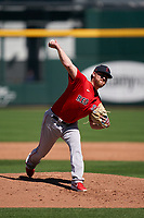 Boston Red Sox pitcher Josh Winckowski (83) during a Major League Spring Training game against the Atlanta Braves on March 7, 2021 at CoolToday Park in North Port, Florida.  (Mike Janes/Four Seam Images)