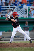 Batavia Muckdogs second baseman Luke Jarvis (8) at bat during a game against the State College Spikes on July 7, 2018 at Dwyer Stadium in Batavia, New York.  State College defeated Batavia 7-4.  (Mike Janes/Four Seam Images)