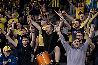 6th April 2021; Bankwest Stadium, Parramatta, New South Wales, Australia, Australian A League football, Western Sydney Wanderers versus Central Coast Mariners; Mariners fans cheer at the end of the game after their draw