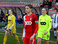 Maurane Marinucci (7) of Standard and Goalkeeper Lisa Lichtfus (16) of Standard walking onto the pitch before  a female soccer game between Standard Femina de Liege and Sporting Charleroi on the 16th matchday of the 2020 - 2021 season of Belgian Scooore Womens Super League , saturday 13 th of February 2021  in Angleur , Belgium . PHOTO SPORTPIX.BE | SPP | SEVIL OKTEM