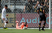 LOS ANGELES, CA - MARCH 01: GK Kenneth Vermeer #1 of the LAFC smothers the ball during a game between Inter Miami CF and Los Angeles FC at Banc of California Stadium on March 01, 2020 in Los Angeles, California.