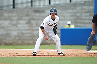 Bruce Steel (17) of the Wake Forest Demon Deacons takes his lead off of first base against the Florida Gators in the completion of Game Two of the Gainesville Super Regional of the 2017 College World Series at Alfred McKethan Stadium at Perry Field on June 12, 2017 in Gainesville, Florida. The Demon Deacons walked off the Gators 8-6 in 11 innings. (Brian Westerholt/Four Seam Images)