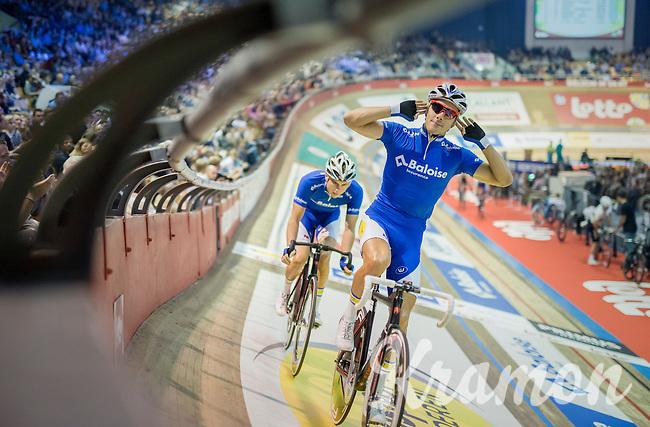 Kenny De Ketele (BEL/TopsportVlaanderen-Baloise) pumping up the crowd<br /> <br /> 2016 Gent 6<br /> day 1