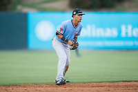 Hickory Crawdads shortstop Anderson Tejeda (1) on defense against the Kannapolis Intimidators in game one of a double-header at Kannapolis Intimidators Stadium on May 19, 2017 in Kannapolis, North Carolina.  The Crawdads defeated the Intimidators 5-4.  (Brian Westerholt/Four Seam Images)