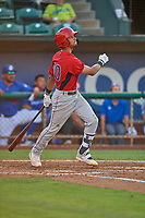 Jeremiah Jackson (00) of the Orem Owlz at bat against the Ogden Raptors at Lindquist Field on July 27, 2019 in Ogden, Utah. The Raptors defeated the Owlz 14-1. (Stephen Smith/Four Seam Images)