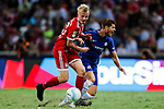 Chelsea Forward Alvaro Morata (R) fights for the ball with Bayern Munich Defender Felix Gotze (L) during the International Champions Cup match between Chelsea FC and FC Bayern Munich at National Stadium on July 25, 2017 in Singapore. Photo by Marcio Rodrigo Machado / Power Sport Images