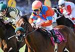 10 May 15: Strike a Deal (no. 8), ridden by Ramon Dominguez and trained by Alan Goldberg, wins the grade 2 Dixie Stakes for three year olds and upward at Pimlico Race Track in Baltimore, Maryland.
