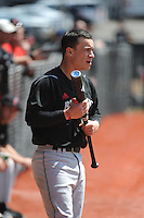 University of Cincinnati Bearcats infielder Ryan Quinn (30) before a game against the Rutgers University Scarlet Knights at Bainton Field on April 19, 2014 in Piscataway, New Jersey. Rutgers defeated Cincinnati 4-1.  (Tomasso DeRosa/ Four Seam Images)
