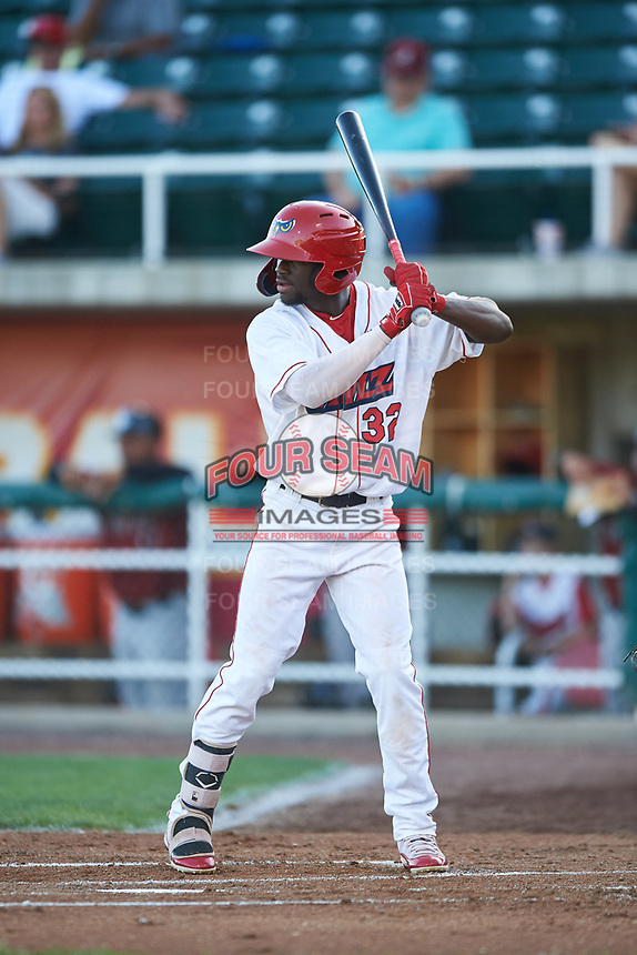 Orem Owlz D'Shawn Knowles (32) at bat during a Pioneer League game against the Idaho Falls Chukars at The Home of the OWLZ on August 13, 2019 in Orem, Utah. Orem defeated Idaho Falls 3-1. (Zachary Lucy/Four Seam Images)