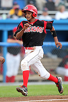 Batavia Muckdogs shortstop Yunier Castillo (7) during a game vs. the Jamestown Jammers at Dwyer Stadium in Batavia, New York July 31, 2010.   Batavia defeated Jamestown 6-1.  Photo By Mike Janes/Four Seam Images