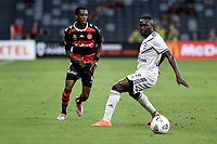 10th February 2021; Bankwest Stadium, Parramatta, New South Wales, Australia; A League Football, Western Sydney Wanderers versus Melbourne Victory; Bruce Kamau of Western Sydney Wanderers passes the ball across Adam Traore of Melbourne Victory