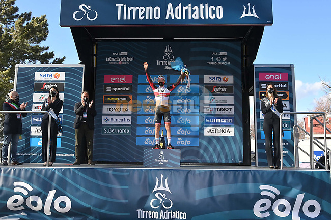 Maglia Bianca Tadej Pogacar (SLO) UAE Team Emirates wins Stage 4 of Tirreno-Adriatico Eolo 2021, running 148km from Terni to Prati di Tivo, Italy. 13th March 2021. <br /> Photo: LaPresse/Gian Mattia D'Alberto | Cyclefile<br /> <br /> All photos usage must carry mandatory copyright credit (© Cyclefile | LaPresse/Gian Mattia D'Alberto)