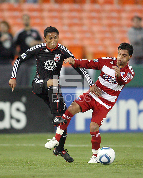 Andy Najar #14 of D.C. United tackles Bruno Guarda #8  of F.C. Dallas during a US Open Cup match on April 28 2010, at RFK Stadium in Washington D.C. D.C. Najar scored two goals. United won 4-2.