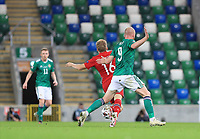 7th September 2020; Windsor Park, Belfast, County Antrim, Northern Ireland; EUFA Nations League, Group B, Northern Ireland versus Norway; Liam Boyce of Northern Ireland fouls Norway's Jonas Svensson with a tackle from behind