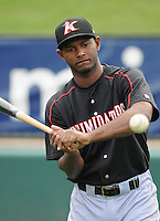 Infielder Juan Silverio (18) of the Kannapolis Intimidators, Class A affiliate of the Chicago White Sox, prior to a game against the Greenville Drive on May 26, 2011, at Fluor Field at the West End in Greenville, S.C. The game was postponed due to rain. (Tom Priddy / Four Seam Images)