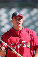 Los Angeles Angels outfielder Mike Trout #27 before a game against the Seattle Mariners at Angel Stadium on July 9, 2011 in Anaheim,California. (Larry Goren/Four Seam Images)