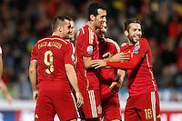 Spain's Paco Alacer, Sergio Busquets, Koke Resurreccion and Jordi Alba celebrate goal during 15th UEFA European Championship Qualifying Round match. November 15,2014.(ALTERPHOTOS/Acero) /NortePhoto nortephoto@gmail.com