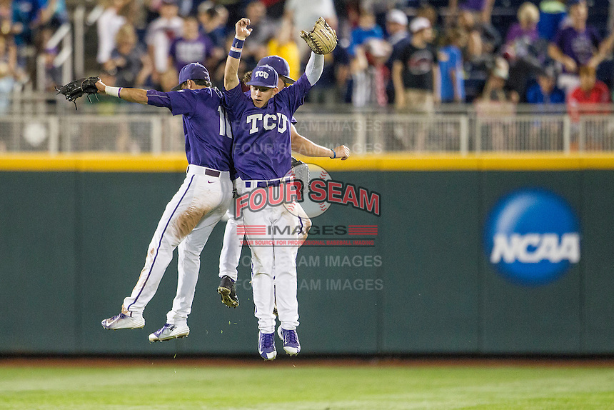 TCU Horned Frogs outfielders Dane Steinhagen (10), Cody Jones (1) and Nolan Brown (6) celebrate beating the LSU Tigers in Game 10 of the NCAA College World Series on June 18, 2015 at TD Ameritrade Park in Omaha, Nebraska. TCU defeated the Tigers 8-4, eliminating LSU from the tournament. (Andrew Woolley/Four Seam Images)