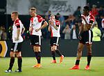 Nederland, Rotterdam, 11 mei 2015<br /> Eredivisie<br /> Seizoen 2014-2015<br /> Feyenoord-Vitesse<br /> Spelers van Feyenoord staan er verslagen bij na het vierde doelpunt van Vitesse. V.l.n.r.:Jordy Clasie, aanvoerder van Feyenoord, Sven van Beek, Rick Karsdorp en Terence Kongolo
