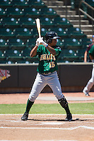 Claudio Bautista (15) of the Lynchburg Hillcats at bat against the Winston-Salem Dash at BB&T Ballpark on August 2, 2015 in Winston-Salem, North Carolina.  The Hillcats defeated the Dash 8-3.  (Brian Westerholt/Four Seam Images)