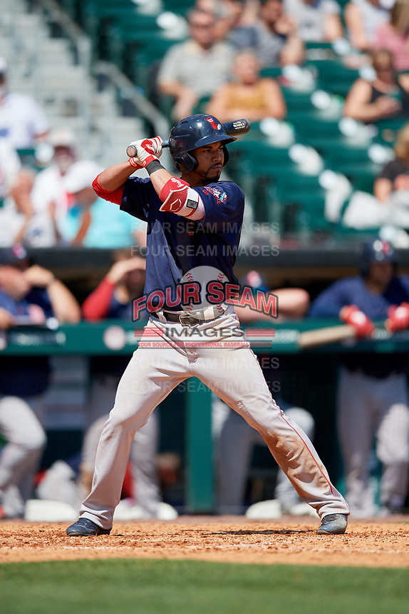 Pawtucket Red Sox second baseman Ivan De Jesus Jr. (13) at bat during a game against the Buffalo Bisons on June 28, 2018 at Coca-Cola Field in Buffalo, New York.  Buffalo defeated Pawtucket 8-1.  (Mike Janes/Four Seam Images)