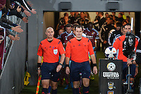 Match officials walk out for the Football United Tour match between Wellington Phoenix and West Ham United at Eden Park, Auckland, New Zealand on Wednesday, 23 July 2014. Photo: Dave Lintott / lintottphoto.co.nz