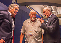 2 April 2016: John McHale Jr. (left) and Gary Hughes (center) chat with Montreal Expos Founding Owner Charles Bronfman in the media room during a pre-season exhibition series between the Blue Jays and the Boston Red Sox at Olympic Stadium in Montreal, Quebec, Canada. The Red Sox defeated the Blue Jays 7-4 in the second of two MLB weekend games, which saw a two-game series attendance of 106,102 at the former home on the Montreal Expos. Mandatory Credit: Ed Wolfstein Photo *** RAW (NEF) Image File Available ***