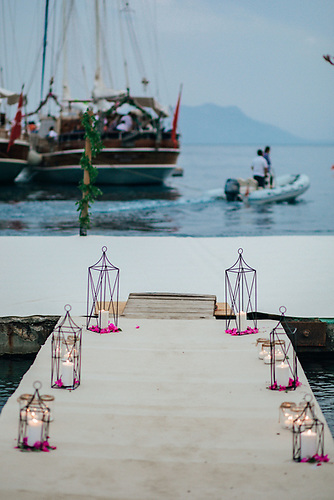 The bridal walkway with both private charter gulets anchored off
