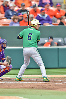 Notre Dame Fighting Irish shortstop Cole Daily (6) awaits a pitch during a game against the Clemson Tigers at Doug Kingsmore Stadium on March 11, 2017 in Clemson, South Carolina. The Tigers defeated the Fighting Irish 6-5. (Tony Farlow/Four Seam Images)
