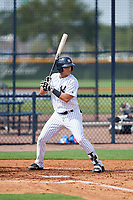 GCL Yankees East center fielder Raymundo Moreno (13) at bat during the first game of a doubleheader against the GCL Blue Jays on July 24, 2017 at the Yankees Minor League Complex in Tampa, Florida.  GCL Blue Jays defeated the GCL Yankees East 6-3 in a game that originally started on July 8th.  (Mike Janes/Four Seam Images)