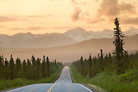 Richardson highway and rain clouds in the Alaska mountain range, Interior, Alaska.