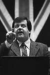 Martin Webster. National Front NF meeting after march through Birmingham suburb of Walsall North during a by election 1976