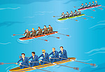 Conceptual image of businessman competing in rowboat race