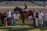 DEL MAR, CA  AUGUST 18: #1 Prince Earl, ridden by Geovanni Franco,  in the winners circle after winning  the Del Mar Mile (Grade ll) on August 18, 2019 at Del Mar Thoroughbred Club in Del Mar, CA.  ( Photo by Casey Phillips/Eclipse Sportswire/CSM)