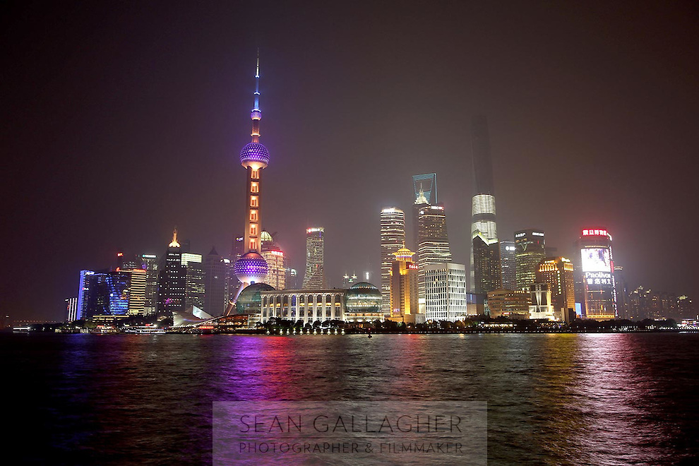 The distinctive Pudong skyline, in Shanghai, at night, 2014.<br /> <br /> To license this image, please contact the National Geographic Creative Collection:<br /> <br /> Image ID: 2169157  <br /> <br /> Email: natgeocreative@ngs.org<br /> <br /> Telephone: 202 857 7537 / Toll Free 800 434 2244<br /> <br /> National Geographic Creative<br /> 1145 17th St NW, Washington DC 20036