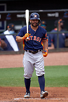 Houston Astros Jose Altuve (27) bats during a Major League Spring Training game against the St. Louis Cardinals on March 20, 2021 at Roger Dean Stadium in Jupiter, Florida.  (Mike Janes/Four Seam Images)