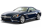 Front three quarter view of a 2013 Mercedes SL Class with the top up..