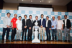(Center) Kenichi Yoshida, vice president of business development for SoftBank Robotics and robot Pepper pose for the cameras with guest speakers at Pepper for Biz 2.0 on July 20, 2016, Tokyo, Japan. Yoshida along with other guests spoke about the new features of Pepper such as Chinese response and speech recognition, and duty free tax refunds and electronic payments services, in response to business needs. The presentation was held a day before the start of Pepper World 2016 exhibition, where developers will introduce applications for SoftBank's robot Pepper. Pepper World will run until July 22. (Photo by Rodrigo Reyes Marin/AFLO)
