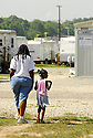 Children are frequently seen walking around during a school day at Renaissance Village in Baker, Louisiana, May 19, 2006.<br />(Cheryl Gerber for New York Times)