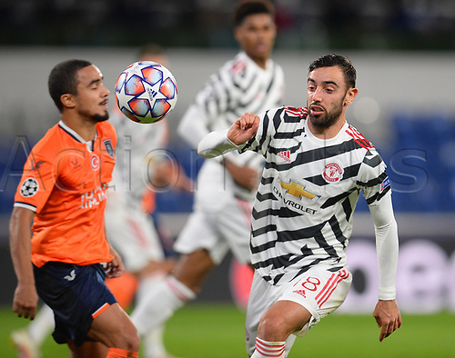 4th November 2020, Basaksehir Fatih Stadium, Istanbul, Turkey; UEFA Champions League football,  Basaksehir versus manchester United;   Rafael Da Silva of Basaksehir and Bruno Fernandes of Manchester United