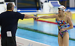 Toronto, Ontario, August 12, 2015. Kirsti Kasko with coach Kevin Ross at the swimming during the 2015 Parapan Am Games . Photo Scott Grant/Canadian Paralympic Committee