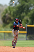 GCL Red Sox shortstop Hector Lorenzana (18) throws to first during a game against the GCL Rays on June 24, 2014 at Charlotte Sports Park in Port Charlotte, Florida.  GCL Red Sox defeated the GCL Rays 5-3.  (Mike Janes/Four Seam Images)