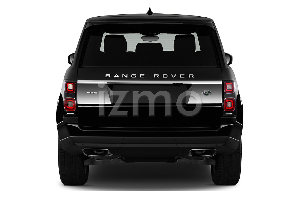 Straight rear view of 2019 Land Rover Range-Rover HSE 5 Door SUV Rear View  stock images