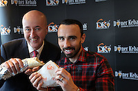Pictured: Leon Britton (R) and MP Geraint Davies (L) Friday 17 February 2017<br />Re: Swansea footballer Leon Britton at the official opening of German Doner Kebab restaurant in the Uplands area of Swansea, Wales, UK.