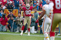 SAN FRANCISCO, CA - San Francisco 49ers Jerry Rice in action signaling for a touchdown catch during a game against the Tampa Bay Buccaneers at Candlestick Park in San Francisco, California in 1990. Photo by Brad Mangin.