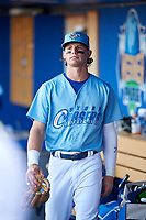 Omaha Storm Chasers Bobby Witt Jr. (7) before a game against the Iowa Cubs on August 14, 2021 at Werner Park in Omaha, Nebraska. (Zachary Lucy/Four Seam Images)