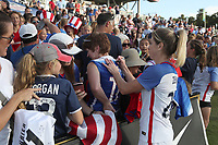 Cary, NC - Sunday October 22, 2017: McCall Zerboni signs an autograph after an International friendly match between the Women's National teams of the United States (USA) and South Korea (KOR) at Sahlen's Stadium at WakeMed Soccer Park. The U.S. won the game 6-0.